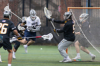 Washington, DC - February 23, 2019: Georgetown Hoyas Robert Clark (16) takes a shot on goal during game between Towson and Georgetown at  Cooper Field in Washington, DC.   (Photo by Elliott Brown/Media Images International)