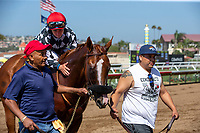 DEL MAR, CA  AUGUST 4:  #4 Tap the Wire, ridden by Drayden Van Dyke, after winning the Graduation Stakes  in the stretch on August 4, 2018 at Del Mar Thoroughbred Club in Del Mar, CA. (Photo by Casey Phillips/Eclipse Sportswire/ Getty Images)
