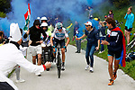 Chris Froome (GBR) Team Sky attacks near the finish of Stage 14 of the 2018 Giro d'Italia, running 186km from San Vito al Tagliamento to Monte Zoncolan features Europe's hardest climb, Italy. 19th May 2018.<br /> Picture: LaPresse/POOL-Luca Bettini | Cyclefile<br /> <br /> <br /> All photos usage must carry mandatory copyright credit (&copy; Cyclefile | LaPresse/POOL-Luca Bettini)
