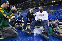 16.01.2013 London, England. Detroit Pistons forward Jason Maxiell (54) talks to the media during team practice ahead of the NBA London Live 2013 game between the Detroit Pistons and the New York Knicks from The O2 Arena