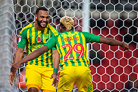 4th November 2019; Bet365 Stadium, Stoke, Staffordshire, England; English Championship Football, Stoke City versus West Bromwich Albion; Matt Phillips of West Bromwich Albion celebrates his 7th minute goal with Grady Diangana - Strictly Editorial Use Only. No use with unauthorized audio, video, data, fixture lists, club/league logos or 'live' services. Online in-match use limited to 120 images, no video emulation. No use in betting, games or single club/league/player publications