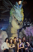 DIO - L-R: Jimmy Bain, Ronnie James Dio, Vinny Appice, Vivian Campbell, Claude Schnell - photosession on stage with the dragon - USA - Sep 1985.  Photo credit: Ray Palmer Archive/IconicPix