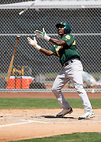 Jemile Weeks -  Oakland Athletics - 2009 extended spring training - Weeks flips his bat after hitting a homerun in an extended spring training game against the San Francisco Giants at Indian Bend Park, Scottsdale, AZ - 4/29/2009.Photo by:  Bill Mitchell/Four Seam Images