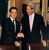 Washington, D.C. - March 30, 2010 -- President Nicolas Sarkozy of France, left, shakes hands with United States Senator John F. Kerry (Democrat of Massachusetts), right, Chairman, U.S. Senate Foreign Relations Committee in the U.S. Capitol on Tuesday, March 30, 2010..Credit: Ron Sachs / CNP