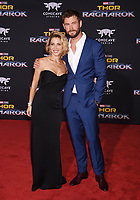 LOS ANGELES, CA - OCTOBER 10: Actress/model Elsa Pataky (L) and actor Chris Hemsworth arrive at the premiere of Disney and Marvel's 'Thor: Ragnarok' at the El Capitan Theatre on October 10, 2017 in Los Angeles, California.<br /> CAP/ROT/TM<br /> &copy;TM/ROT/Capital Pictures