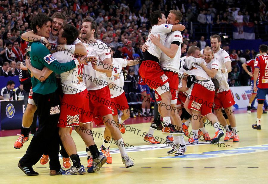 Niklas Landin Jacobsen (L) and other Denmark handball players celebrate victory in final men`s EHF EURO 2012 handball championship game against Serbia in Belgrade, Serbia, Sunday, January 29, 2011.  (photo: Pedja Milosavljevic / thepedja@gmail.com / +381641260959)