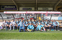 Wycombe Wanderers players pose with the Stars of the Show during The Impractical Jokers (Hit US TV Comedy) filming at Wycombe Wanderers FC at Adams Park, High Wycombe, England on 5 April 2016. Photo by Andy Rowland.