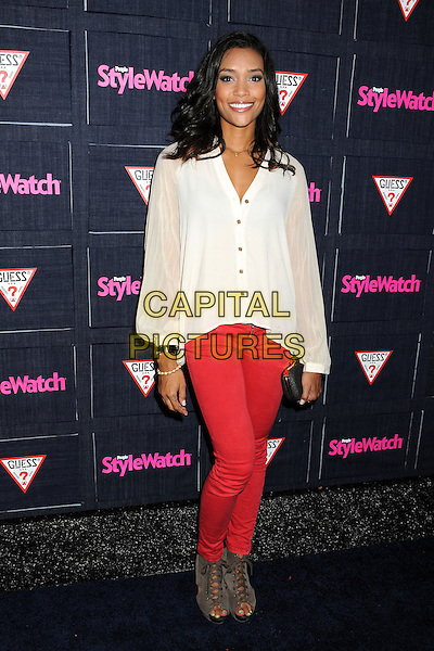 Annie Ilonzeh.People StyleWatch hosts Hollywood Demin Party in honor of 2nd Annual Denim Issue held at Palihouse, West Hollywood, California USA..20th September 2012.full length white blouse red jeans denim grey gray shoes black clutch bag.CAP/ADM/BP.©Byron Purvis/AdMedia/Capital Pictures.