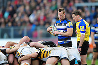 Chris Cook of Bath Rugby looks to put the ball into a scrum. Aviva Premiership match, between Bath Rugby and Wasps on March 4, 2017 at the Recreation Ground in Bath, England. Photo by: Patrick Khachfe / Onside Images