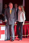 Former King Juan Carlos of Spain visits Queen Letizia of Spain during the Cruz Roja´s (Red Cross) `Dia de la banderita´ donation table in front of Deputy Congress building in Madrid, Spain. October 08, 2014. (ALTERPHOTOS/Victor Blanco)