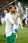 Real Madrid's Sergio Ramos celebrates the victory in the UEFA Champions League 2015/2016 Final match.May 28,2016. (ALTERPHOTOS/Acero)