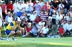 DES MOINES, IA - AUGUST 19: Europe's Catriona Matthew reacts as her putt comes up short on the 16th hole to fall 4&2 to USA in their afternoon four-ball match Saturday at the 2017 Solheim Cup in Des Moines, IA. (Photo by Dave Eggen/Inertia)