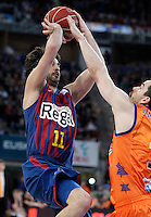 FC Barcelona Regal's Juan Carlos Navarro (l) and Valencia Basket Club's Rafa Martinez during Spanish Basketball King's Cup Final match.February 07,2013. (ALTERPHOTOS/Acero)