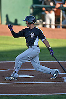 Colton Welker (12) of the Grand Junction Rockies follows through on his swing against the Ogden Raptors during the Pioneer League game at Lindquist Field on August 25, 2016 in Ogden, Utah. The Rockies defeated the Raptors 12-3. (Stephen Smith/Four Seam Images)