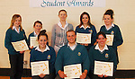 Sancta Maria College's Student Awards,.Student of the Month Award winners, .Back Josephine Cannon, Sorcha McAllister, Michela Caprani and Stephanie Nicolson..Sitting Emma Needham, Matthew Frazer and Kate Geraghty...Pic Conor McKeown..Pic Conor McKeown