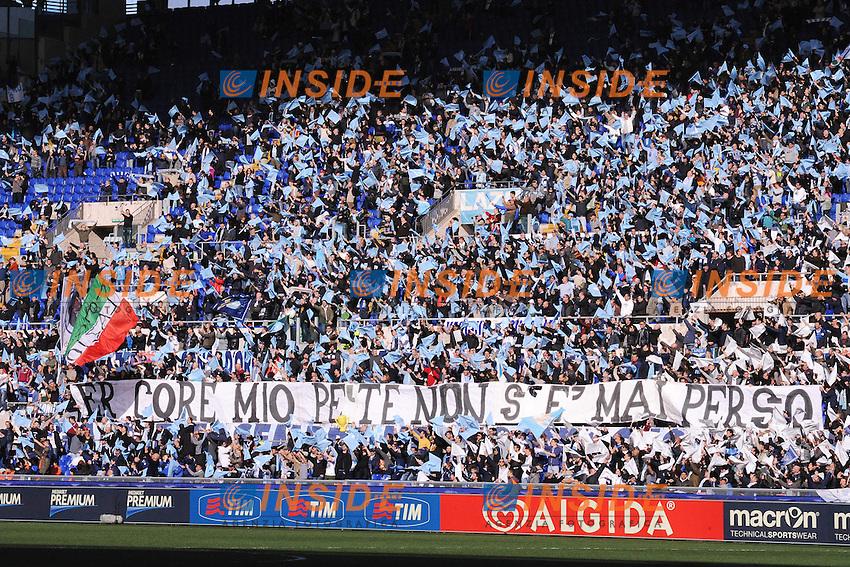 Tifosi Lazio supporters <br /> Roma 09-02-2014 Stadio Olimpico - Football Calcio Serie A 2013/2014 Lazio - As Roma Foto Andrea Staccioli / Insidefoto