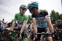 'green' André Greipel (DEU/Lotto-Soudal) & 'Panzerwagen' Tony Martin (DEU/Etixx-Quickstep) catching up at the start<br /> <br /> stage 4: Seraing (BEL) - Cambrai (FR) <br /> 2015 Tour de France
