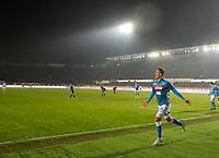 Arkadiusz Milik of Napoli  cele during the  italian serie a soccer match,Atalanta - SSC Napoli at  the Atleti azure d'italia   stadium in Bergamo Italy , December 03, 2018