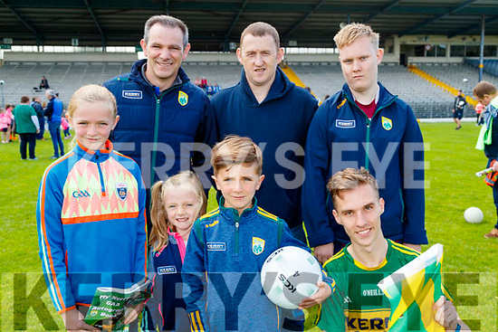 Kate, Stephen, Caoimhe and Conor Darmody (Glenflesk), James O'Donoghue (Cordal) with Chris and Martin O'Donoghue (Causeway), enjoying the Kerry Team Open Day Meet and Greet, at Fitzgerald Stadium, Killarney on Saturday last.