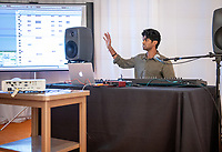 Guests learned about Oxy's new music production track from Professor David Kasunic, Assistant Professor Adam Schoenberg, and the track's first graduate, Anoop D'Souza '19, who demonstrated his music development process. <br /> Occidental College launched the public phase of the Oxy Campaign For Good, a comprehensive effort to raise $225 million to strengthen its financial aid endowment and academic and co-curricular programs, at a May 18, 2019 Campaign Leadership Summit on the Occidental campus. More than 100 Oxy community members participated, getting a first-hand look at current programs and celebrated what the Campaign means for the future of Oxy.<br /> (Photo by Marc Campos, Occidental College Photographer)