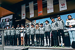 Mitchelton-Scott Women at team presentation before the 2019 Liège-Bastogne-Liège Femmes,  running 138.5km from Bastogne to Liege, Belgium. 27th April 2019<br /> Picture: ASO/Thomas Maheux | Cyclefile<br /> All photos usage must carry mandatory copyright credit (© Cyclefile | ASO/Thomas Maheux)