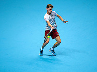 David Goffin (BEL)(9)action against Novak Djokovic (SRB)(2) in their  Ivan Lendl Group  match during Day Five  of the Barclays ATP World Tour Finals 2015 played at The O2 Arena, London on November 17th  2016