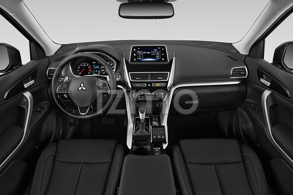 Stock photo of straight dashboard view of a 2019 Mitsubishi Eclipse-Cross SEL 5 Door SUV