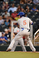 St. Lucie Mets first baseman T.J. Rivera (5) during a game against the Fort Myers Miracle on April 18, 2014 at Hammond Stadium in Fort Myers, Florida.  St. Lucie defeated Fort Myers 15-9.  (Mike Janes/Four Seam Images)