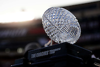 Jan 7, 2010; Pasadena, CA, USA; The Coaches Trophy on the field before the 2010 BCS national championship game between the Alabama Crimson Tide and Texas Longhorns at the Rose Bowl.  Mandatory Credit: Mark J. Rebilas-
