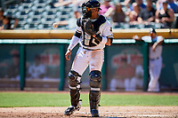 Jose Briceno (10) of the Salt Lake Bees during the game against the Albuquerque Isotopes at Smith's Ballpark on April 22, 2018 in Salt Lake City, Utah. The Bees defeated the Isotopes 11-9. (Stephen Smith/Four Seam Images)