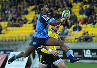 Bulls Warrick Gelant leaps for the ball during the Super Rugby quarterfinal between the Hurricanes and Bulls at Westpac Stadium in Wellington, New Zealand on Saturday, 22 June 2019. Photo: Dave Lintott / lintottphoto.co.nz