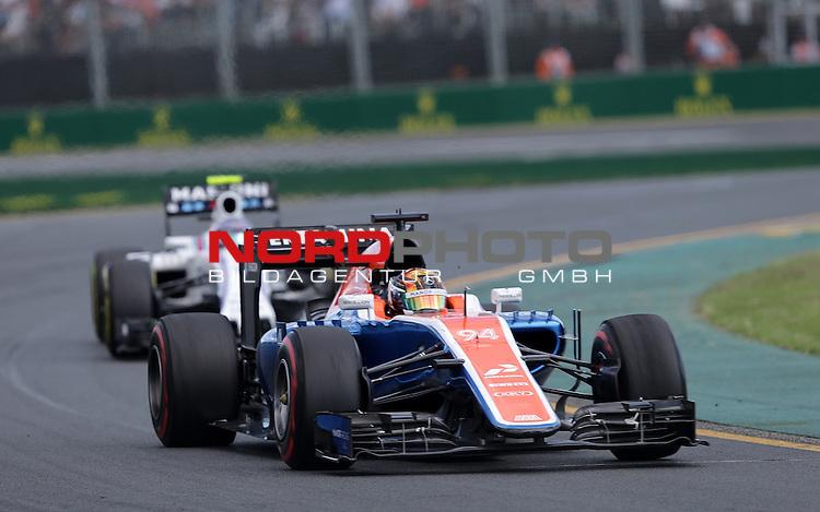 20.03.2016. Albert-Park-Circuit, Melbourne,  AUS, F1, Formula 1 Rolex Australien Grand Prix,  Race01 im Bild   <br /> Pascal Wehrlein (GER#94), Manor Racing MRT,Valtteri Bottas (FIN#77), Williams Martini Racing<br /> <br /> <br /> Foto &copy; nordphoto /  Bratic