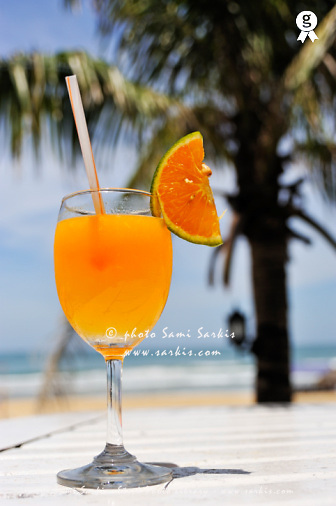 Glass of Orange cocktail by palm tree on beach (Licence this image exclusively with Getty: http://www.gettyimages.com/detail/94433094 )