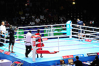 Ghana's Jessie Lartey wins his men's light (62kg) round of 32 fight against Tanzania's Nassar Mafuru Mafuru by walkover after Mafuru failed to appear in the ring.<br /> <br /> Photographer Chris Vaughan/CameraSport<br /> <br /> 20th Commonwealth Games - Day 3 - Saturday 26th July 2014 - Boxing - SECC - Glasgow - UK<br /> <br /> © CameraSport - 43 Linden Ave. Countesthorpe. Leicester. England. LE8 5PG - Tel: +44 (0) 116 277 4147 - admin@camerasport.com - www.camerasport.com