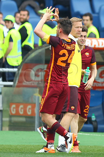 03.04.2016. Stadium Olimpico, Rome, Italy.  Serie A football league. Derby Match SS Lazio versus AS Roma. Celebration after the goal from Florenzi Alessandro for 1-3