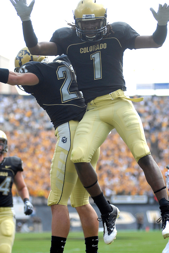 06 September 08: Colorado receivers Josh Smith (1) and Scotty McKnight celebrate a Smith touchdown in the endzone. The Colorado Buffaloes defeated the Eastern Washington Eagles 31-24 at Folsom Field in Boulder, Colorado. FOR EDITORIAL USE ONLY