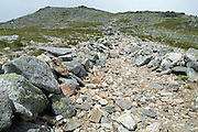 Scree wall along Boott Spur Trail during the summer months in the White Mountains, New Hampshire. Scree walls are used to keep hikers on the route of the trail, and this helps protect the fragile alpine habitat.