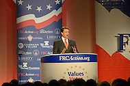 October 7, 2011  (Washington, DC)   Governor Rick Perry addressed an audience at the Values Voter Summit in Washington.  Perry was one of several 2012 Presidential candidates to attend the Summit, which was organized by FRC Action, the non-profit legislative action arm of Family Research Council.   (Photo by Don Baxter/Media Images International)
