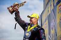 Mar 20, 2016; Gainesville, FL, USA; NHRA funny car driver Robert Hight celebrates after winning the Gatornationals at Auto Plus Raceway at Gainesville. Mandatory Credit: Mark J. Rebilas-USA TODAY Sports