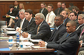 "Washington, D.C. - May 19, 2005 -- Testimony before the United States House of Representatives Committee on Government Reform on ""Steroid Use in Sports Part III: Examining the National Basketball Association's (NBA) Steroid Testing Program""  in Washington, D.C. on May 17, 2005.  From left to right: David J. Stern, Commissioner, NBA; Richard W. Buchanan, Senior Vice President and General Counsel, NBA; G. William Hunter, Executive Director, National Basketball Players Association; Keith Jones, Athletic Trainer, Houston Rockets; and Juan Dixon, Player, Washington Wizards..Credit: Ron Sachs / CNP..(RESTRICTION: NO New York or New Jersey Newspapers or newspapers within a 75 mile radius of New York City)"