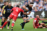 Francois Louw of Bath Rugby takes on the Toulouse defence. Heineken Champions Cup match, between Bath Rugby and Stade Toulousain on October 13, 2018 at the Recreation Ground in Bath, England. Photo by: Patrick Khachfe / Onside Images
