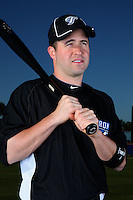 March 1, 2010:  Infielder John McDonald (6) of the Toronto Blue Jays poses for a photo during media day at Englebert Complex in Dunedin, FL.  Photo By Mike Janes/Four Seam Images