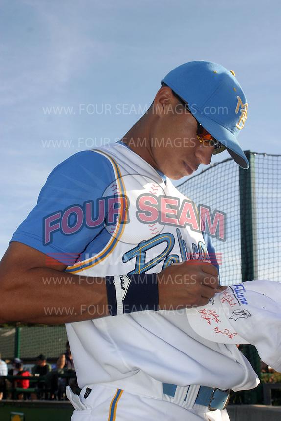 Gorkys Hernandez of the Myrtle Beach Pelicans vs. the Frederick Keys at BB&T Coastal Field in Myrtle Beach, SC on April 11, 2008
