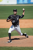 Kannapolis Intimidators relief pitcher Ryan Hinchley (17) in action against the Delmarva Shorebirds at Kannapolis Intimidators Stadium on April 13, 2016 in Kannapolis, North Carolina.  The Intimidators defeated the Shorebirds 8-7.  (Brian Westerholt/Four Seam Images)