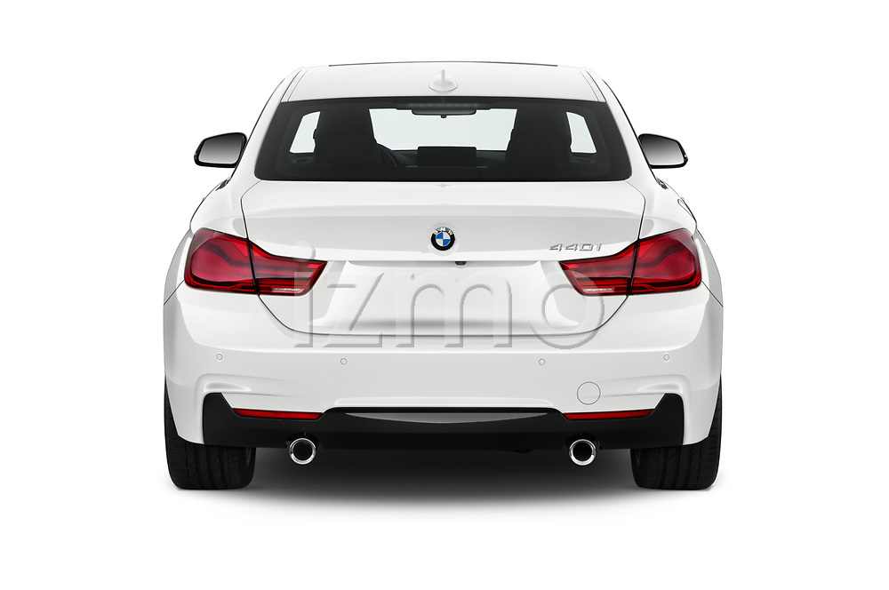 Straight rear view of 2020 BMW 4-Series 440i-M-Sport Door Coupe Rear View  stock images