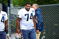 Wednesday August 10, 2016: New England Patriots offensive lineman Keavon Milton (74) walks to the practice field at a joint training camp practice between New England Patriots and  the New Orleans Saints  training camp held Gillette Stadium in Foxborough Massachusetts. Eric Canha/CSM