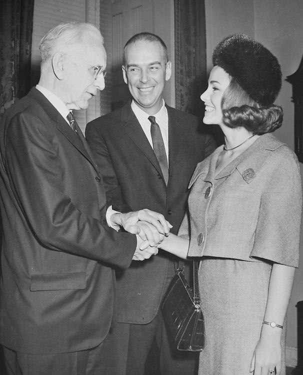 Rep. Robert Ellsworth, R-Kans., Rep. John William McCormack, D-Mass. and Deborah Bryant on 1966. (Photo by CQ Roll Call)