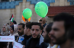 Palestinians take part in a rally demanding their rights on the occasion of the universal declaration of Human Rights in front of the office of the High Commissioner, in Gaza city, on December 10, 2019. Photo by Mahmoud Ajjour