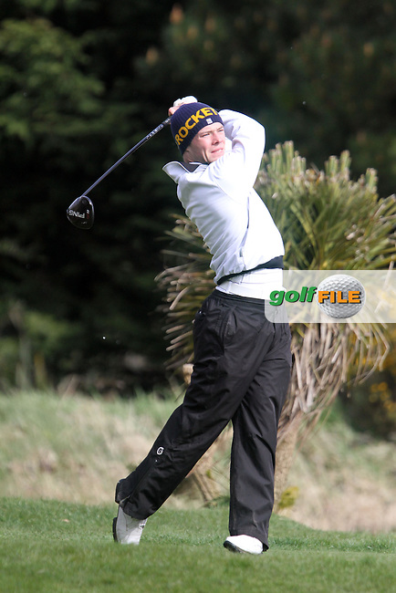 David Brennan (Shannon) on the 1st tee during the Leinster Youths Amateur Open Championship in the European Club, Brittas Bay, Co.Wicklow. 26/3/13..(Photo Jenny Matthews/www.golffile.ie)