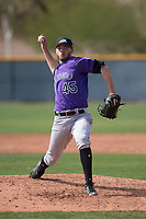 Colorado Rockies relief pitcher Jesse Lepore (45) during a Minor League Spring Training game against the Chicago Cubs at Sloan Park on March 27, 2018 in Mesa, Arizona. (Zachary Lucy/Four Seam Images)